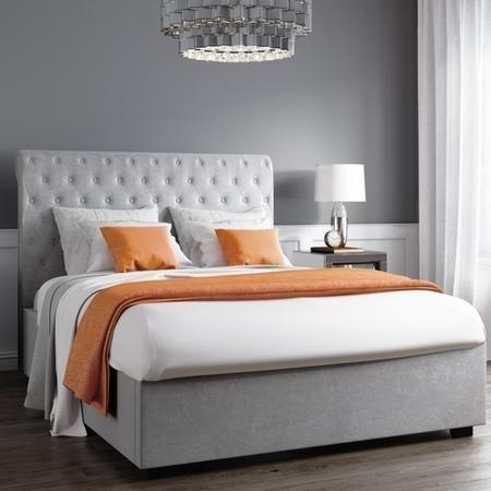 Safina Rolltop Double Ottoman Bed in Silver/Grey Velvet SAF031