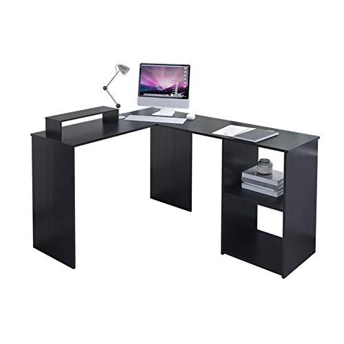 EUCO Computer Desk,Black Gaming Desk L-Shape Wood Corner Desk Large PC Gaming Desk Study Table for Home/Office,135x110cm