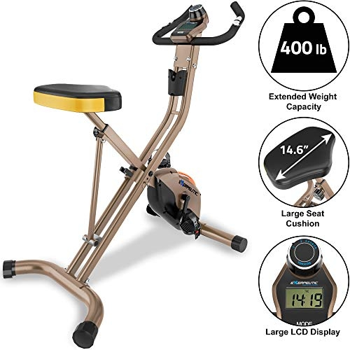 EXERPEUTIC Gold Heavy Duty Foldable Exercise Bike- Price Tracker