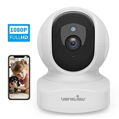 Wansview WiFi IP Camera, 1080P Wireless Home Security Camera Q5 for Baby, Elder, Pet Camera Monitor with Motion Detection 2-Way Audio Night Vision Pan Tilt Zoom, Works with Alexa (White)- Price Tracker